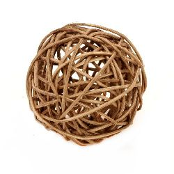 Rattan ball wood 70 mm brown