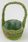 Basket round 300x130x115 mm decorated with colored wood