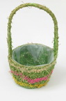 Decorative Round Basket 305x160x145 mm decorated with colored wood