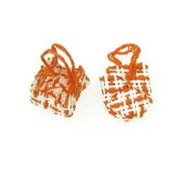 Кошница плат 32x22 мм бяло оранжево -5 броя