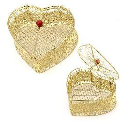 Сърце с панделка метално 100x105x50 мм цвят злато