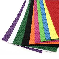 EVA foam A4 sheet 20x30 cm 2 mm with waves, assorted colors -10 sheets