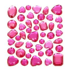 Self-Adhesive Acrylic Rhinestones Flatback DIY various shapes color cyclamen
