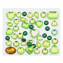 Self-adhesive stones acrylic different shapes color green
