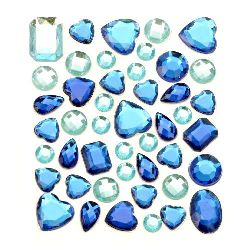 Self-Adhesive Acrylic Rhinestones Flatback DIYdifferent shapes color blue