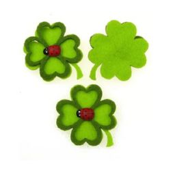 Clover Felt Embellishment DIY Scrapbooking 48 mm with edge and ladybug -10 pieces