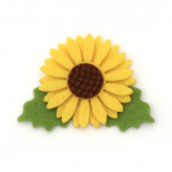 Sunflower felt DIY Scrapbooking  50x70 mm with leaf -10 pieces
