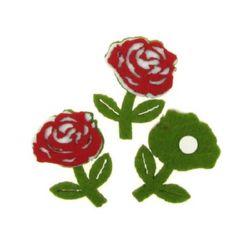 Роза филц с лепка 30x45 мм листо -10 броя