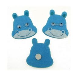 Hippo felt with adhesive 35x38 mm moving eyes -10 pieces