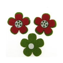 Flower Felt Embellishment DIY Decoration 35mm Adhesive three colors -10 pieces