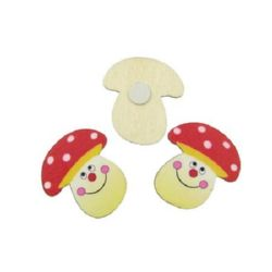 Cabochon Wooden Mushroom adhesive 30x32 mm -10 pieces