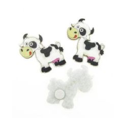 Cow wood and felt with glue DIY Decoration  33x38 mm -10 pieces