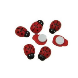 Wooden Ladybug Adhesive 8x11 mm  100 pieces