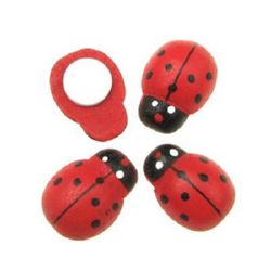 Cabochon Ladybug wooden 14x19 mm adhesive 100 pieces