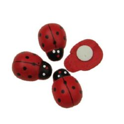 Wooden ladybug with glue 16x23 mm - 100 pieces