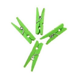Wooden Clothespins 4x30 mm green -50 pieces