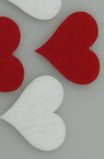 Heart Embellishment Red & White Felt Material, 32x34x2mm 10pcs