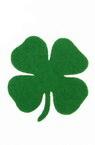 Детелина с дръжка от филц 65x3 мм зелена -5 броя