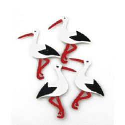 Stork from felt for various decoration, laser cut 43x67 mm -10 pieces