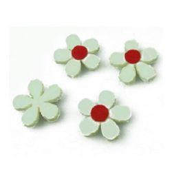 White flower from felt for various decoration 20x3 mm white - 10 pieces