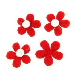 Flower from felt for embellishment of albums, festive cards decoration 20x3 mm red - 10 pieces