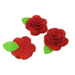 Rose with felt leaf  DIY Decoration 44x35 mm red -5 pieces
