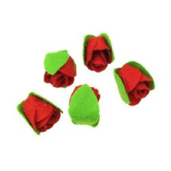 Rose two leaves felt 30x25 mm red -5 pieces