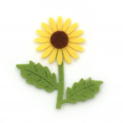 Sunflower with handle of felt  for handmade hobby projects 56x49 mm - 10 pieces