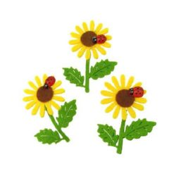 Felt sunflower with handle and ladybug ms, boxes for handmade decorations 60~65x50 mm - 5 pieces