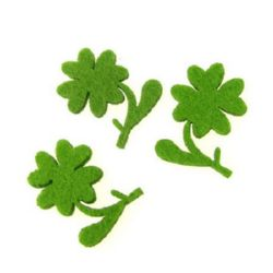 Clover with handle and leaf of felt for embellishment of festive cards, frames, albums 35x25 mm - 10 pieces