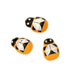 Wooden figurine bee 13x9x4 mm cabochon type painted orange - 20 pieces