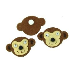 Monkey head Felt Embellishment DIY Scrapbooking 47x32 mm with adhesive -10 pieces