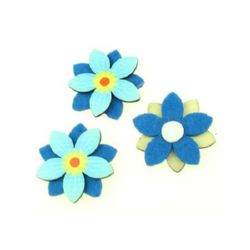 Wooden Felt Flower adhesive 45 mm five leaves blue - 10 pieces