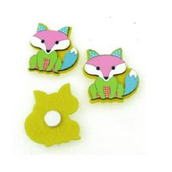 Fox tree and felt with adhesive 40x35 mm -10 pieces