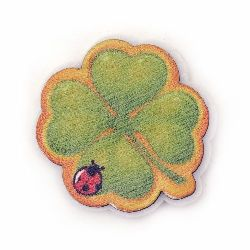 Clover with ladybug wood and felt with glue 40x36 mm -10 pieces