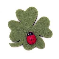 Clover soft ladybug with adhesive 39x39 mm -20 pieces