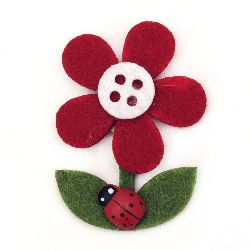 Felt flower with ladybug, with glue 30x43 mm - 10 pieces