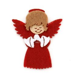 Angel felt with glue  DIY Scrapbooking 43x36 mm red -10 pieces