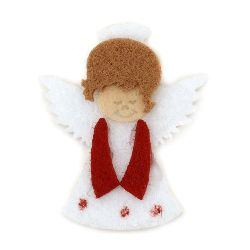 Angel felt with glue DIY Decoration 43x36 mm white -10 pieces
