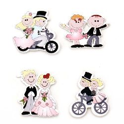 Wooden figure Boy and girl with adhesive tape 29~38x30~40 mm assorted models - 10 pieces