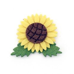 Sunflower from felt with glue for decoration of scrapbook albums, notebooks, decoupage 42x49 mm - 10 pieces