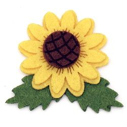 Adhesive Sunflower Felt Embellishment DIY Decoration 57x64 mm -10 pieces