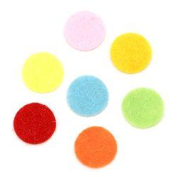 Pâslă rotundă 15x1 mm amestec culori 20 bucăți