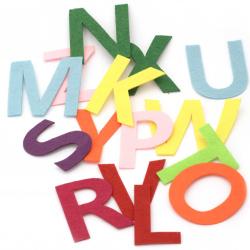 Αγγλική αλφάβητος, τσόχα 76 ~ 80x29 ~ 108x1,5 mm γράμματα από Α έως Ζ ΜΙΞ -26 τεμάχια