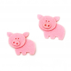 Baby Piggy Felt Embellishment, 40x30mm 10pcs