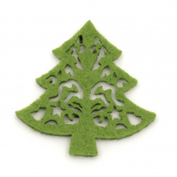 Felt tree for decoration of scrapbook albums 49x48 mm -10 pieces