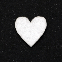 White heart felt for decoration of greeting cards, album, scrapbook projects, boxes 21x20 mm - 10 pieces