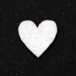 Καρδιά, τσόχα 21x20 mm λευκό -10 κομμάτια