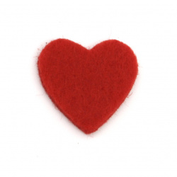 Heart from felt, laser cut element for scrapbook craft 21x20 mm red - 10 pieces