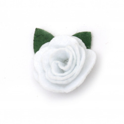 Rose with felt leaf  for decoration of scrapbook albums25x20 mm white -10 pieces